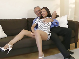 Tall horn-mad nympho Henessy seduces an old man..