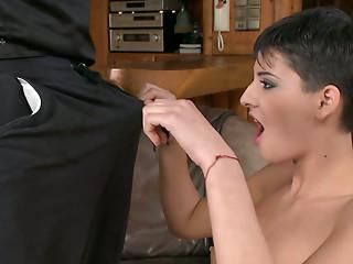 Astonishing brunette Coco de Mal gives a blowjob..