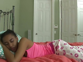 Sleeping ebony chick Jazzy Jamison gets fucked